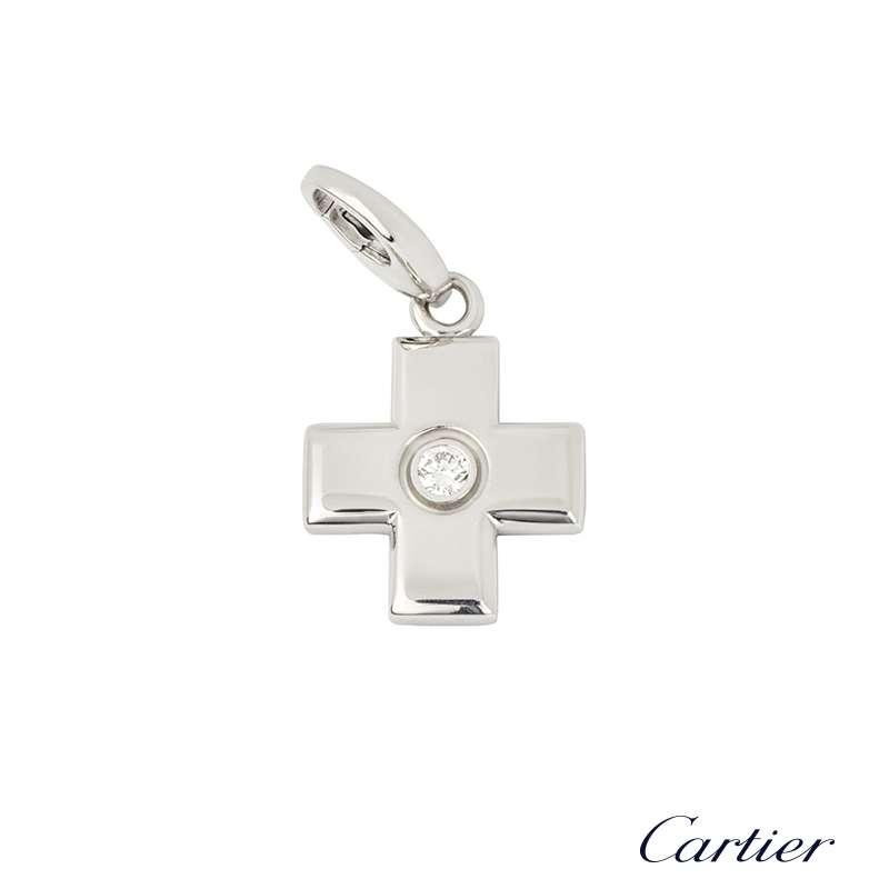 Cartier 18k White Gold Diamond Set Cross Charm